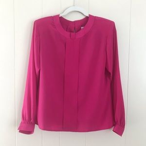 VTG Notations Hot Barbie Pink Pleated Blouse Shirt